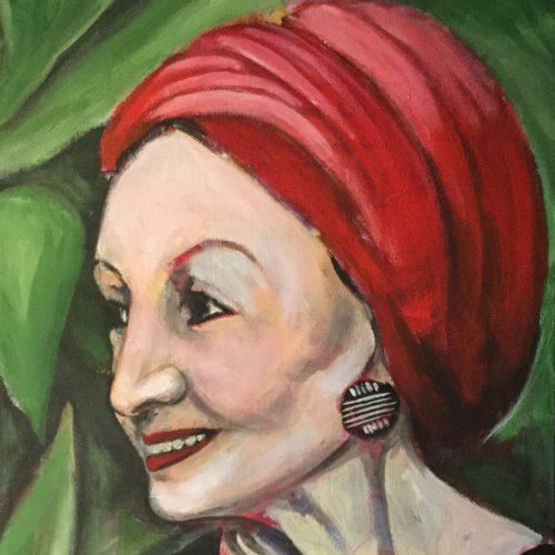 Die Frau mit dem roten Turban, 30 x 40 cm, Acryl auf Leinwand
