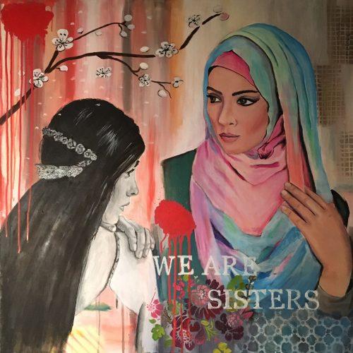 We are sisters, 80 x 80 cm, Acryl/Öl auf Leinwand