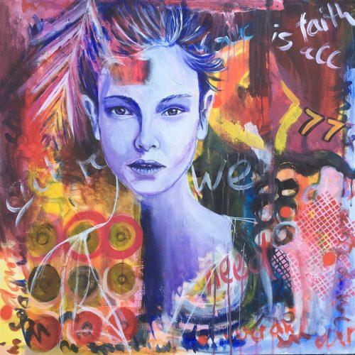 Seventyseven, 80 x 80 cm, Acryl/MixedMedia auf Leinwand