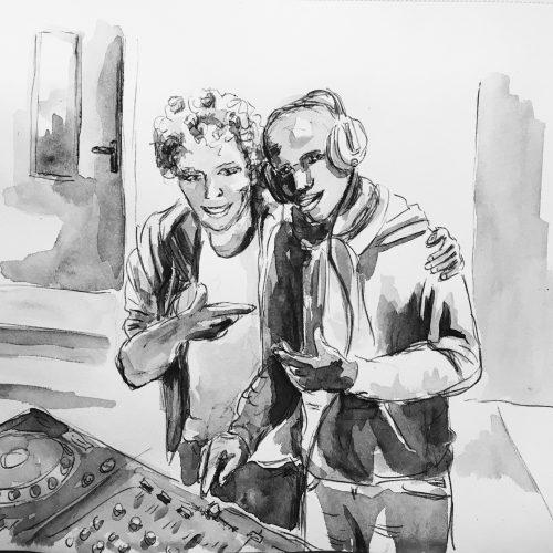 We love the same music, 21 x 27 cm, Kugelschreiber/Aquarellfarbe auf Papier