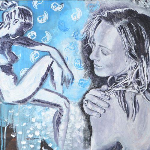 Wasserblau, 40 x 60 cm, Acryl auf Leinwand