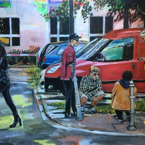 Streetlife, 90 x 120 cm, Acryl auf Leinwand