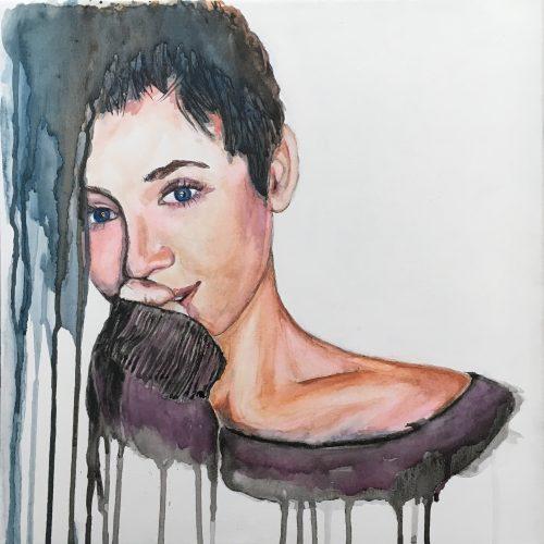 o.T., 40 x 40 cm, Aquarell auf Leinwand Sold/verkauft