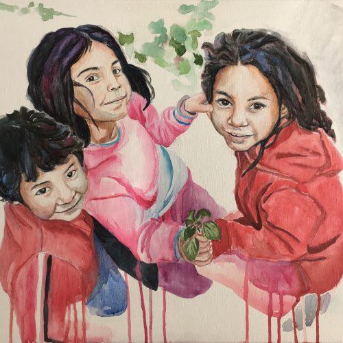 Street Kids, 50 x 70 cm, Aquarell auf Leinwand
